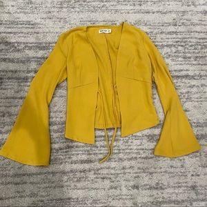 ⭐️Tiger Mist Mustard Yellow Tie Front Top